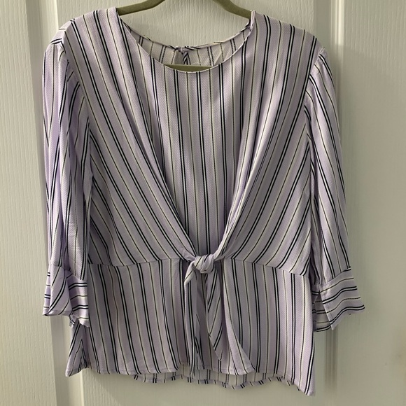 Purple and white striped blouse